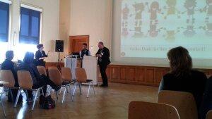 Dr. Thomas Heller und Prof. Dr. Wermke beim Vortrag in Gera